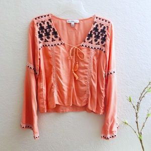 Abercrombie & Fitch Embroidered Tassel Top